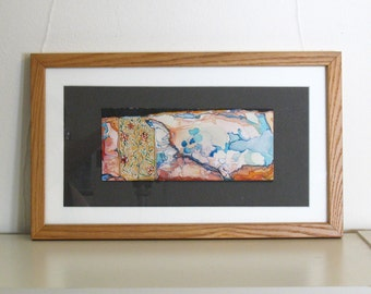 Original watercolor painting, small framed art, blue orange pink gold, fantasy map art, Cerise Marches