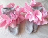 Pink Ruffled Ribbon on Gray Socks