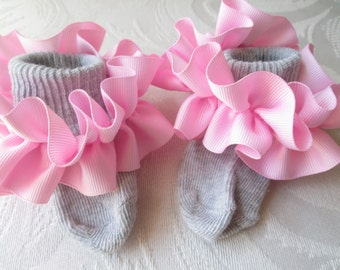 Pink Ruffled Ribbon on Gray Socks