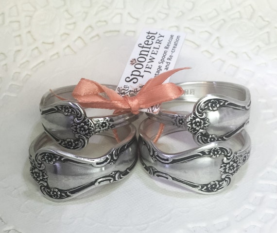 Silver Spoon Napkin Rings from Vintage Silverware, Napkin Holder 'Daybreak' 1952 - Set of 4