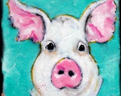 Miss Piggy Acrylic on canvas 8x8  Illustraation Original