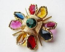 Vintage 50s Capri Gold Jeweled Rhinestone Maltese Cross Brooch Pin