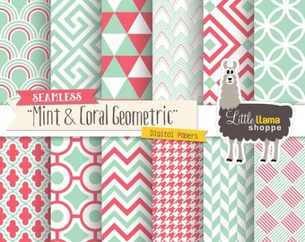 Mint and Coral Digital Papers, Seamless Geometric Digital Paper, Modern Geometric Tileable Digital Backgrounds, Commercial Use
