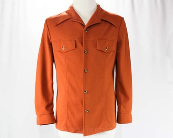 Men's Small Leisure Suit Jacket - 70s Mens Copper Polyester Sport Coat - 1970s Saturday Night Disco - Rust Brown - NWT - Chest 40 - 46450
