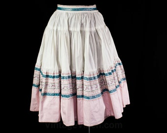 XL 1950s Patio Skirt - 50s Rockabilly - Fresh White Cotton - Pink & Teal Blue - Silver Rick Rack - Squaw Full Skirt - Waist 33.5 - 45884