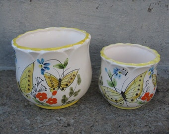 homco ceramic butterfly planters butterfly planter pair butterfly vases original box 1970s homeco