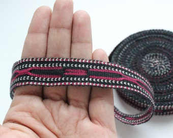 Uzbek hand woven cotton trim Jiyak. Ethnic Boho, Tribal trim