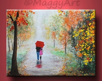 original abstract painting,Autumn rain, walking in rain,red umbrella,love couple,24x18 inch,on stretched canvas,great wedding gift