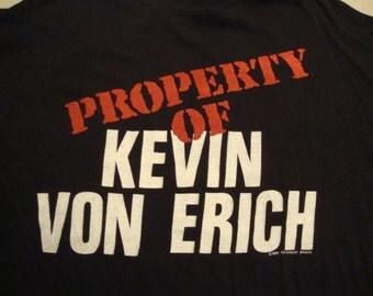 Vintage Property of Kevin Von Erich World Class Wrestling kerry david mike Sportatorium VERY RARE T shirt L