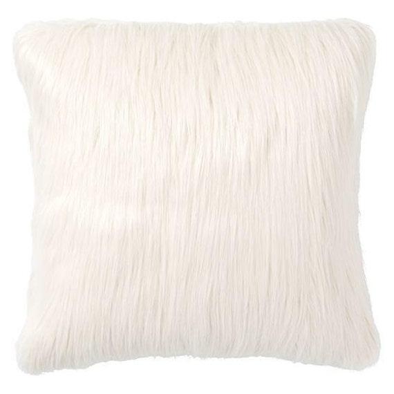 white faux fur cushion pillow faux fur