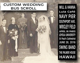 Wedding Bus Scroll, Custom Wedding  List - Bus Roll - Scroll - Custom - Personalized