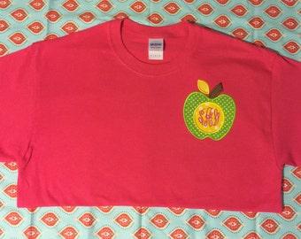 SCHOOL teacher Initial monogram  applique shirt 3 initials & Polka Dot apple