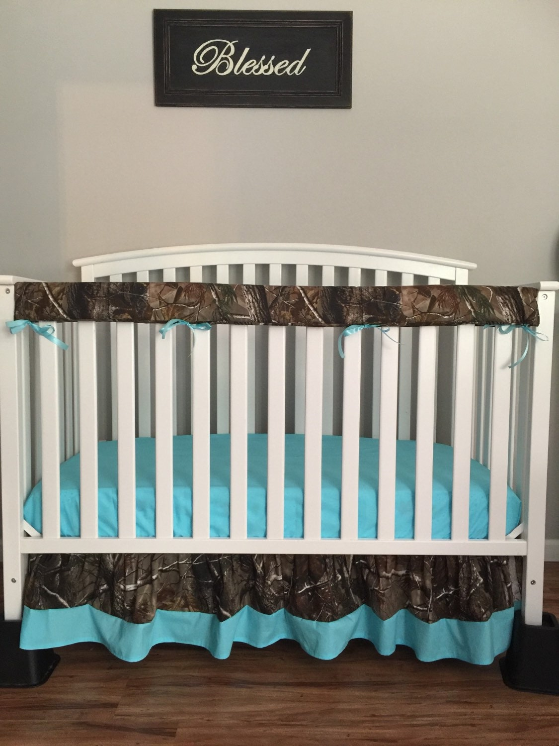 3pc Camo Crib Toddler Baby Bedding Set Bumperless With