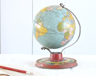 GREAT Vintage 1930's Tin World Globe Litho Horoscope Stand Blue Green Red