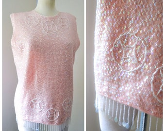 1960s Shell pink knit sequin & beaded evening top / 60s knitted sequinned top XL
