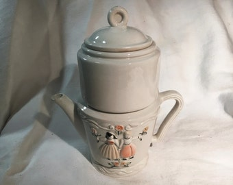 Drip Coffee Maker, 4 pc. Porcelier Vitreous China, Raised Dutch Couple, 1940s Vintage