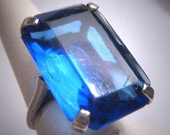 Antique Sapphire Ring Vintage Art Deco Victorian Silver 1920-30s