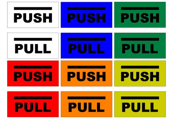 Push sign / pull sign / enter sign / closed sign / enter sign / exit sign / rectangle / simple design