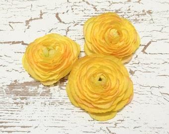 3 YELLOW Ranunculus Flowers - SMALLER SIZE - Artificial Flowers, Silk Flowers