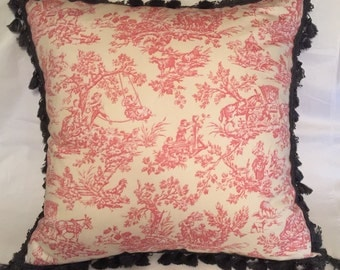 Pink French Country Toile Shabby Paris Chic Cottage Garden Parisian Style Gypsy.