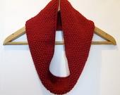 Cowl Infinity Scarf in Deep Red Alpaca Wool