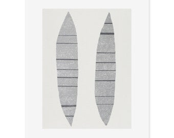 Abstract screenprint / large screenprint, monochrome, greys, original, handmade on finest quality paper by Emma Lawrenson
