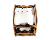 "WINE RACK - ""Rosato"" - Hanging Wine Barrel Rack with glass holders - 100% recycled"