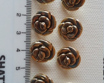 Lot of 8 Vintage Buttons -  gold tone mini roses