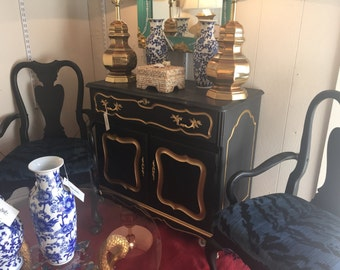 Bar Cart French Provincial Gold Black Vintage Hollywood Buffet Chest Serving Cart Mid Century