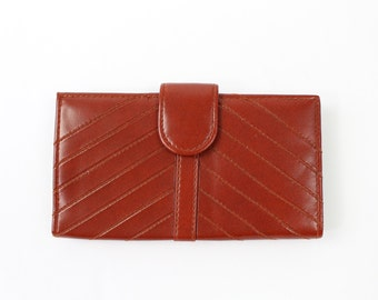 VINTAGE 1970s Wallet Red Faux Leather