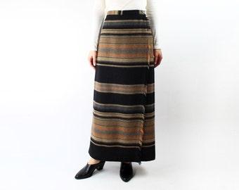VINTAGE Blanket Wrap Skirt Wool Fringe Long