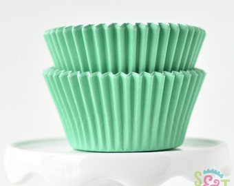 Solid Light Green BakeBright GREASEPROOF Baking Cups Cupcake Liners | ~30 count