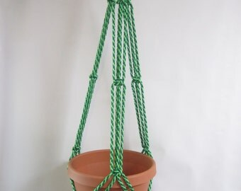 Macrame Plant Hanger 35in SIMPLE 3-ARM 6mm - Lettuce Green (Mixed green)