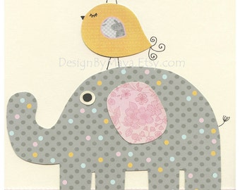 Baby Girl Nursery Decor, Girl Nursery Art, Nursery Wall Art, Baby Girl Room Decor, light pink mint, mustard gray, Girl nursery elephant art