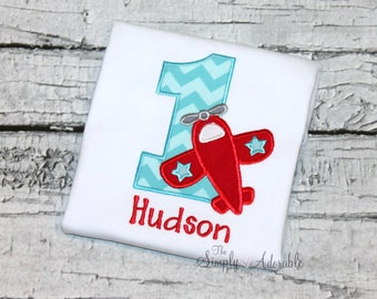 Boy's Airplane Birthday Shirt, Personalized Boy's Airplane Tee, Airplane Shirt,  Transportation Birthday,  Ages 1-9 available