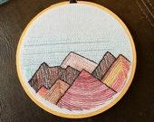 "Warm Mountains, 5"" diameter Original Embroidery Hoop Art"