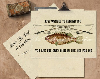 You Are The Only Fish In The Sea For Me Handmade Seeded Paper Card.