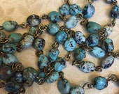 sale NEW Earthy style Handmade USA linked rosary chain natural African Turquoise nuggets 6 to 8mm gemstones