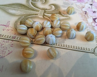 8mm Opaque Pale Blue and Taupe Czech Glass Beads Fluted Melon Glass Beads 20 pcs.