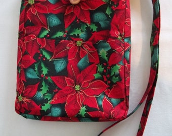 Christmas Crossbody Bag, Poinsettia Crossbody Bag, Christmas Purse, Cross Body Bag,Teen Purse, Small Purse, Gifts for Her, Christmas Flowers