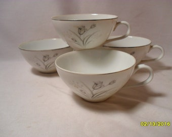 Lot of 4 Beautiful Creative Royal Elegance Gray Tulip Pattern Cups