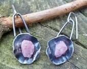 Rough Pink Tourmaline Earrings. Dangle Earrings. Rough Stone Earrings. Pink Tourmaline Jewelry. Handmade Earrings. Ethnic Earrings. Mineral.