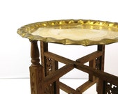 Folding Brass Tray Table / Hammered brass / Collapsible Wood Legs / Moroccan