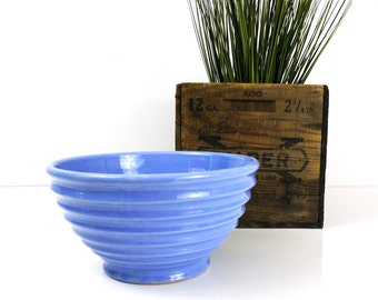 Ribbed Mixing Bowl / Vintage Blue Ringed Ceramic Bowl / Farmhouse Cottage Kitchen