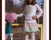 Easter Morning Skirt Set - Pink Chevron and Gold Cross - Infant Toddler Youth Girls Easter Clothing