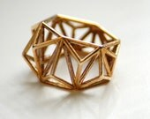 Geometric Prism Cage 3d Printed Ring- Polished Bronze