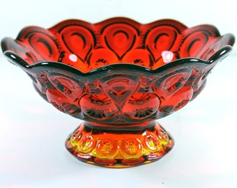 L. E. Smith Amberina Moon and Stars Candlebowl