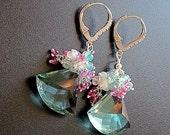 VALENTINES DAY SALE Green Amethyst Prasiolite Watermelon Tourmaline Ethiopian Opal Pink Topaz Gemstone Cluster Earrings