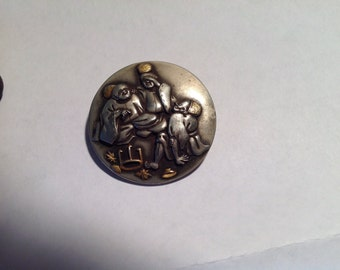 Antique japanese mixed metal brooch