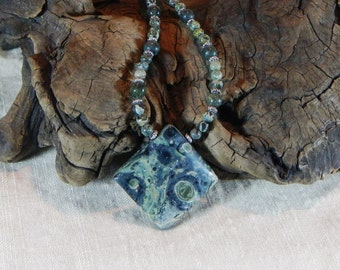 """Green Kambaba jasper pendant necklace 15"""" long night and stars diamond semiprecious stone jewelry packaged in a colorful gift bag 10133"""